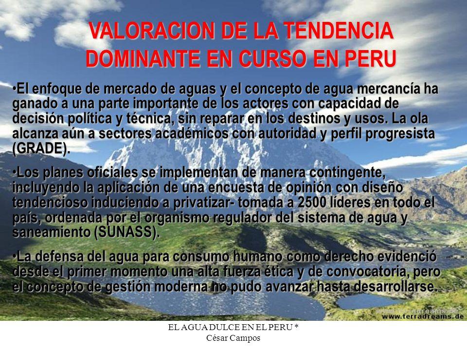 EL AGUA DULCE EN EL PERU * César Campos VALORACION DE LA TENDENCIA DOMINANTE EN CURSO EN PERU El enfoque de mercado de aguas y el concepto de agua mer