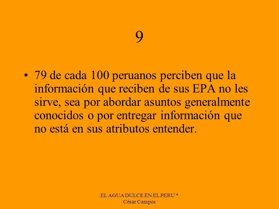 EL AGUA DULCE EN EL PERU * César Campos 9 79 de cada 100 peruanos perciben que la información que reciben de sus EPA no les sirve, sea por abordar asu