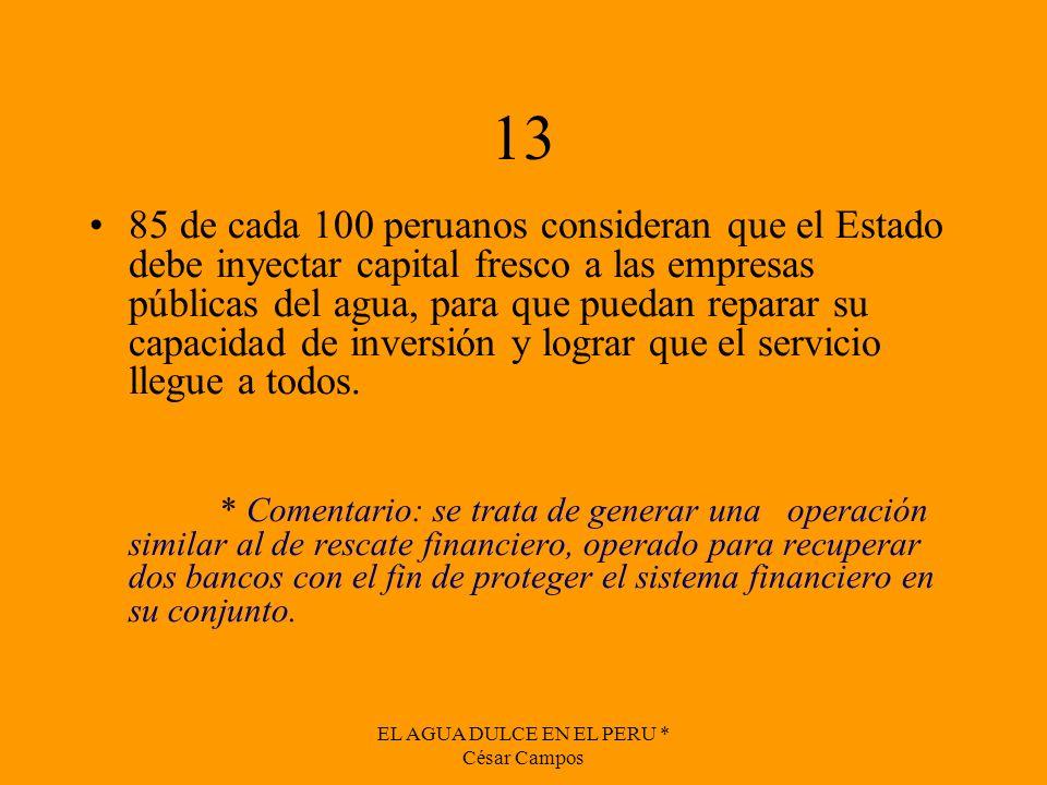 EL AGUA DULCE EN EL PERU * César Campos 13 85 de cada 100 peruanos consideran que el Estado debe inyectar capital fresco a las empresas públicas del a