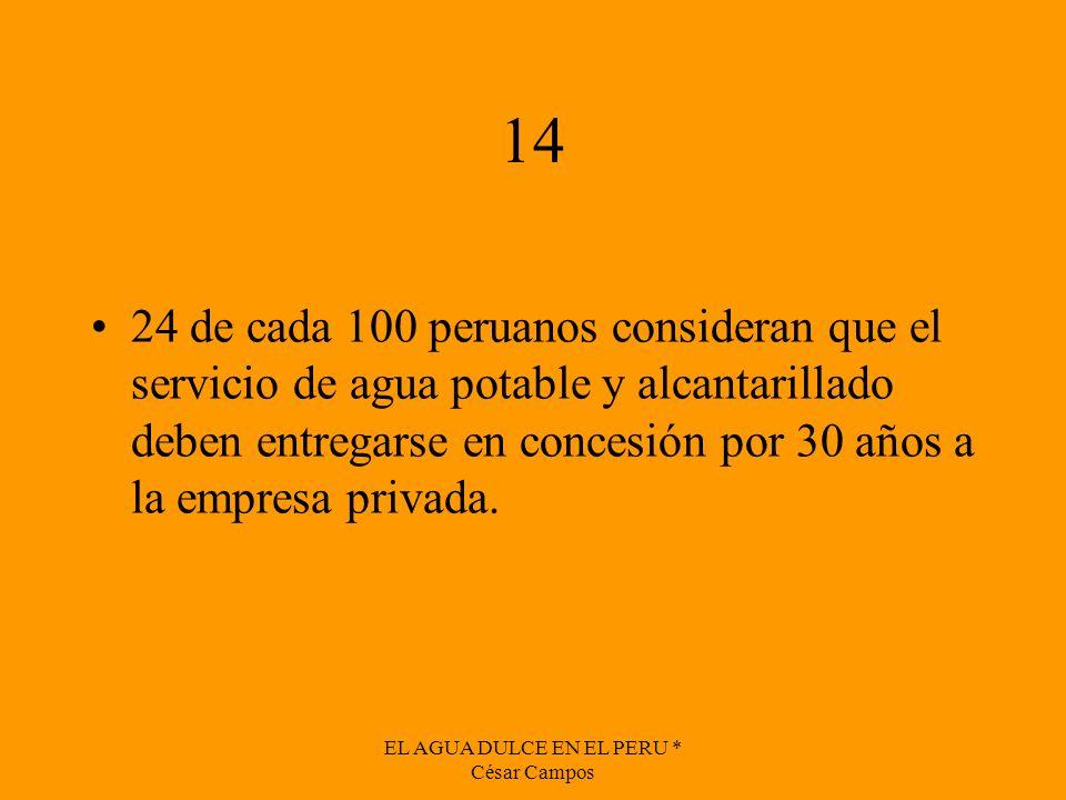 EL AGUA DULCE EN EL PERU * César Campos 14 24 de cada 100 peruanos consideran que el servicio de agua potable y alcantarillado deben entregarse en con