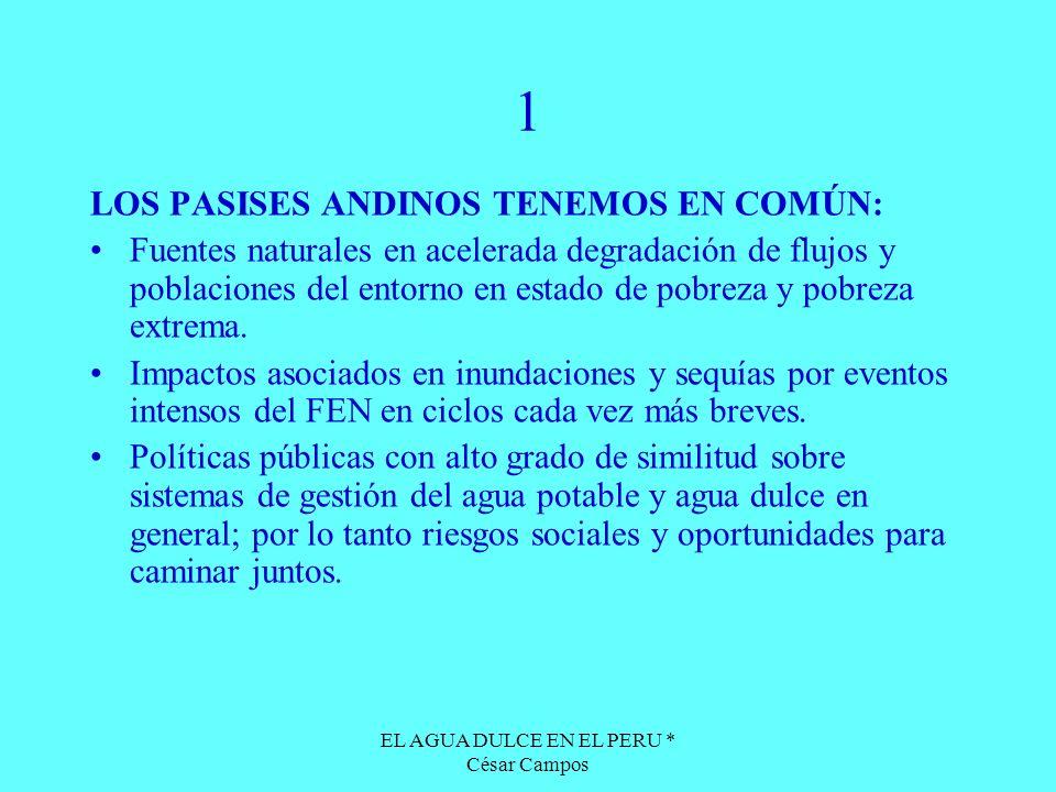 EL AGUA DULCE EN EL PERU * César Campos 1 LOS PASISES ANDINOS TENEMOS EN COMÚN: Fuentes naturales en acelerada degradación de flujos y poblaciones del