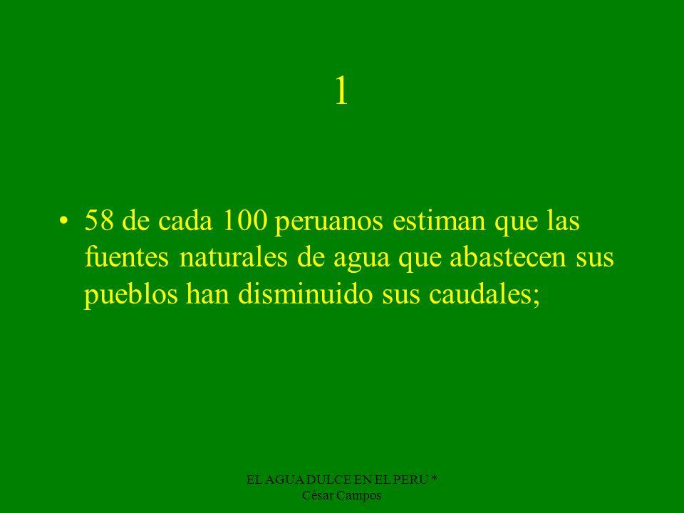 EL AGUA DULCE EN EL PERU * César Campos 1 58 de cada 100 peruanos estiman que las fuentes naturales de agua que abastecen sus pueblos han disminuido s