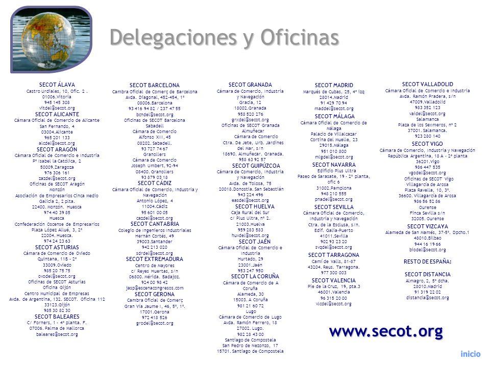 Delegaciones y Oficinas SECOT ÁLAVA Castro Urdiales, 10, Ofic. 2. 01006.Vitoria 945 145 308 vitdel@secot.org SECOT ALICANTE Cámara Oficial de Comercio