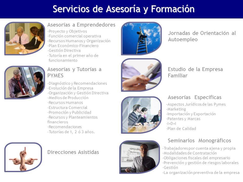 Asesorías a Emprendedores -Proyecto y Objetivos -Función comercial operativa -Recursos Humanos y Organización -Plan Económico-Financiero -Gestión Dire