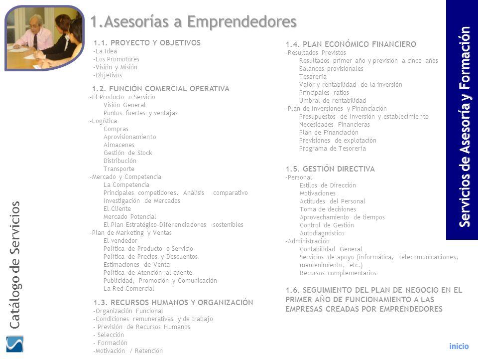 1.Asesorías a Emprendedores 1.1. PROYECTO Y OBJETIVOS -La Idea -Los Promotores -Visión y Misión -Objetivos 1.2. FUNCIÓN COMERCIAL OPERATIVA -El Produc