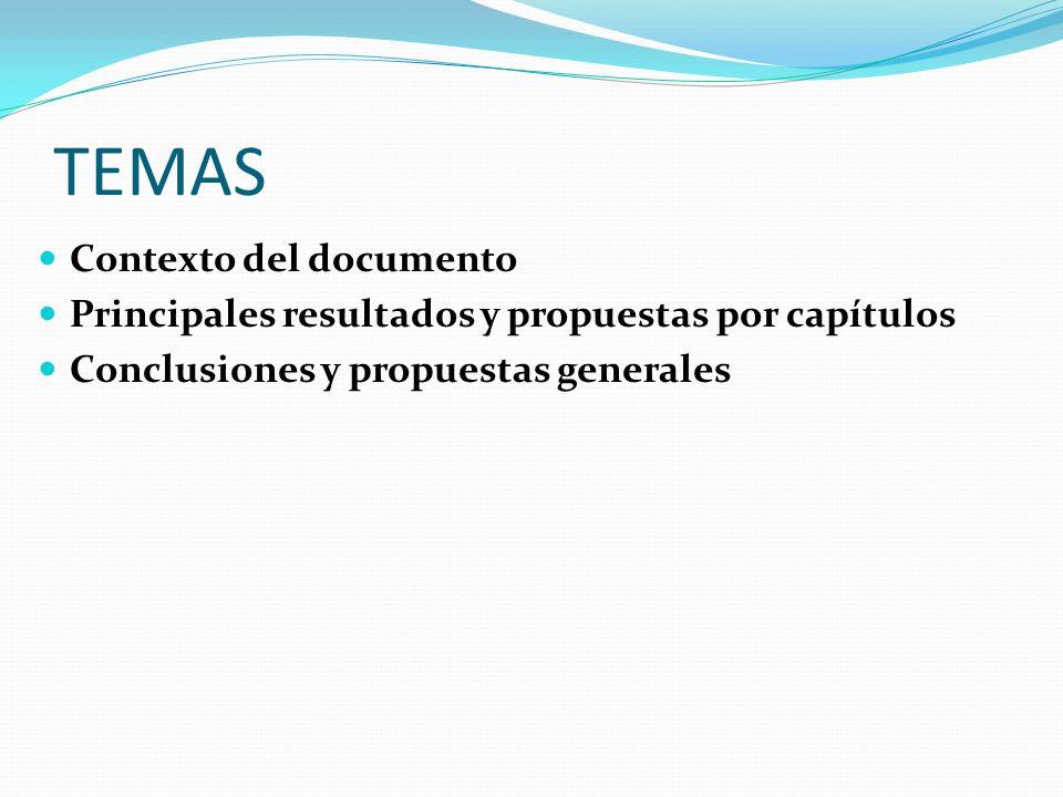 TEMAS Contexto del documento Principales resultados y propuestas por capítulos Conclusiones y propuestas generales