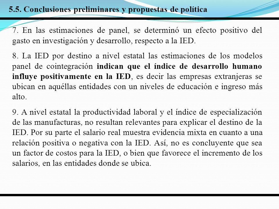 7. En las estimaciones de panel, se determinó un efecto positivo del gasto en investigación y desarrollo, respecto a la IED. 8. La IED por destino a n
