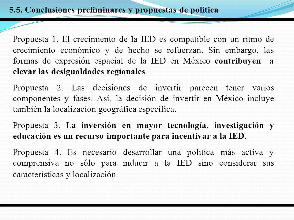 5.5. Conclusiones preliminares y propuestas de política Propuesta 1.