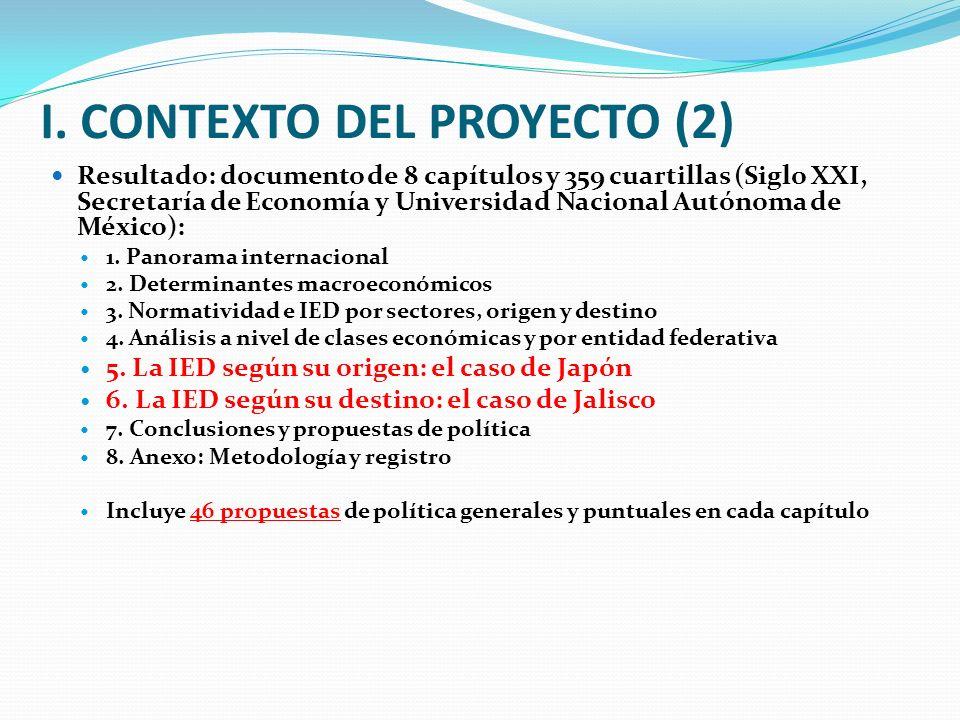 I. CONTEXTO DEL PROYECTO (2) Resultado: documento de 8 capítulos y 359 cuartillas (Siglo XXI, Secretaría de Economía y Universidad Nacional Autónoma d