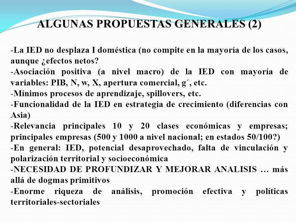 ALGUNAS PROPUESTAS GENERALES (2) -La IED no desplaza I doméstica (no compite en la mayoría de los casos, aunque ¿efectos netos.