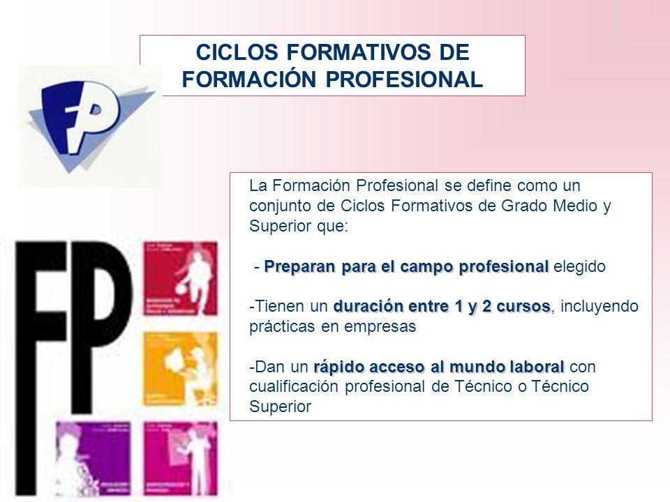 CICLOS FORMATIVOS DE FORMACIÓN PROFESIONAL La Formación Profesional se define como un conjunto de Ciclos Formativos de Grado Medio y Superior que: Pre