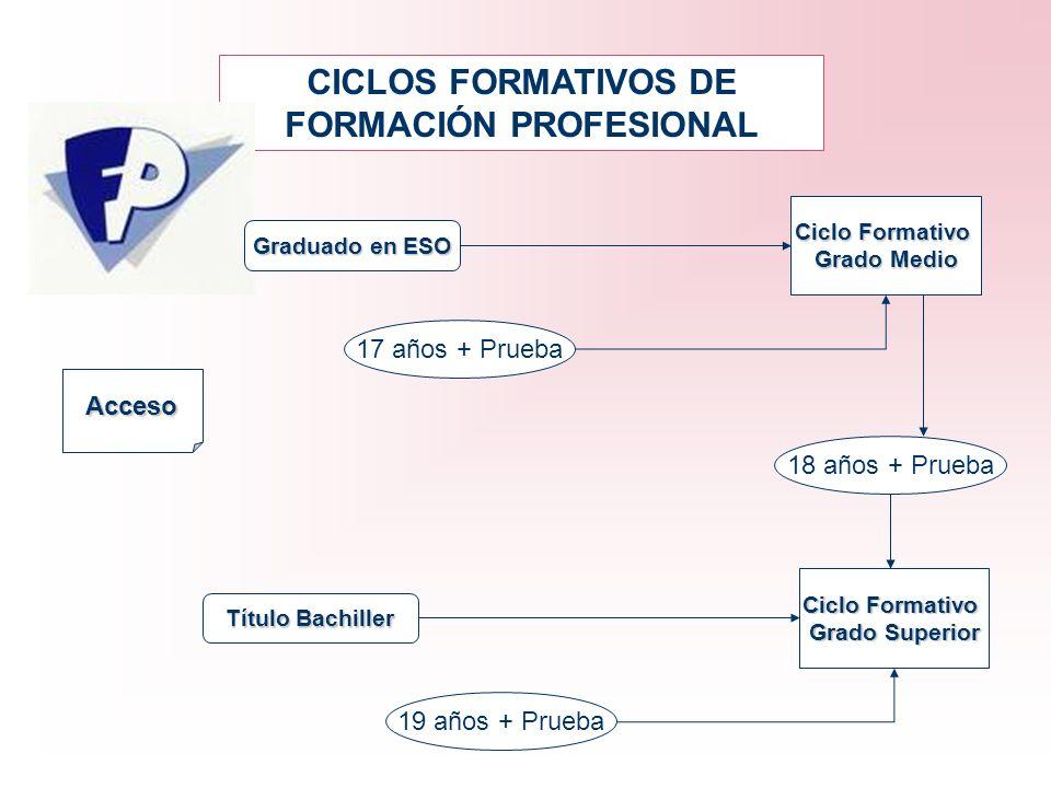 CICLOS FORMATIVOS DE FORMACIÓN PROFESIONAL Acceso Graduado en ESO Título Bachiller Ciclo Formativo Grado Medio Ciclo Formativo Grado Superior 17 años