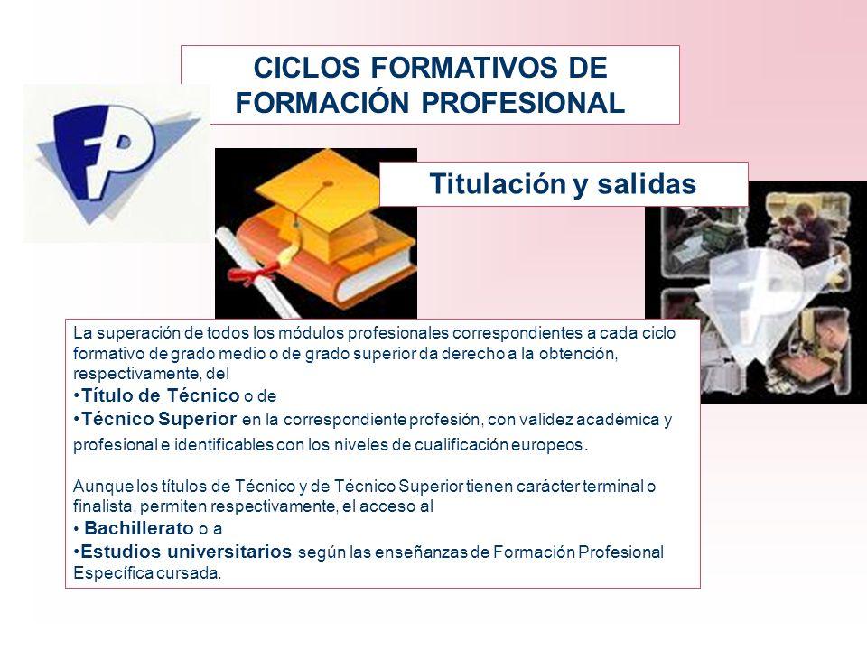 CICLOS FORMATIVOS DE FORMACIÓN PROFESIONAL Titulación y salidas La superación de todos los módulos profesionales correspondientes a cada ciclo formati