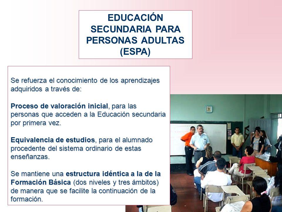 EDUCACIÓN SECUNDARIA PARA PERSONAS ADULTAS (ESPA) Se refuerza el conocimiento de los aprendizajes adquiridos a través de: Proceso de valoración inicia
