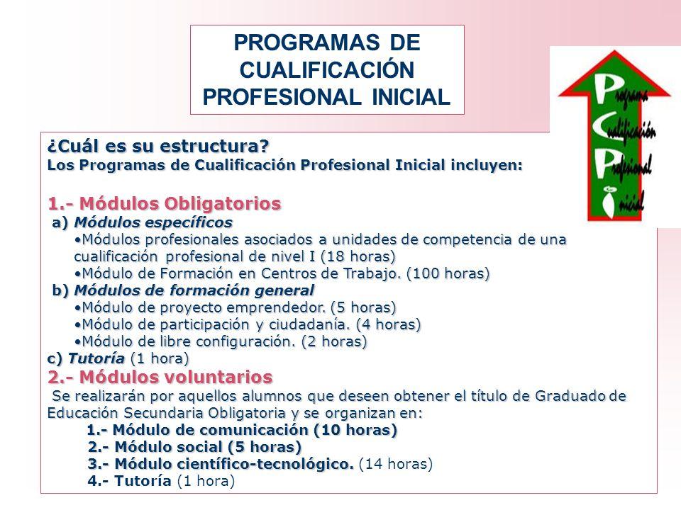 PROGRAMAS DE CUALIFICACIÓN PROFESIONAL INICIAL ¿Cuál es su estructura? Los Programas de Cualificación Profesional Inicial incluyen: 1.- Módulos Obliga