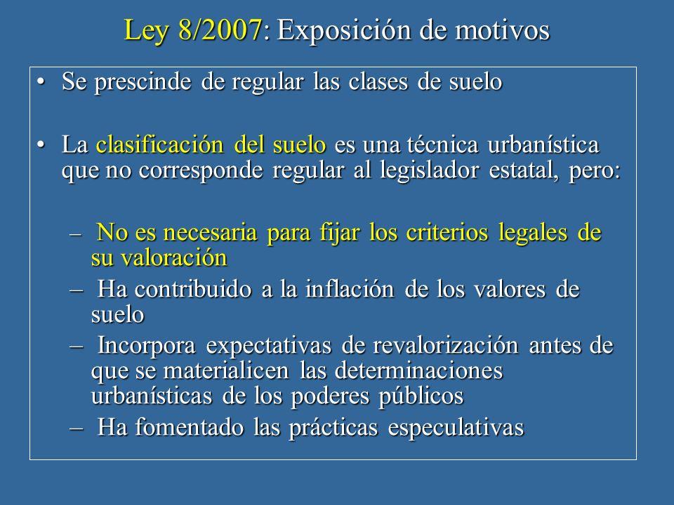 Ley 8/2007: Exposición de motivos Se prescinde de regular las clases de sueloSe prescinde de regular las clases de suelo La clasificación del suelo es