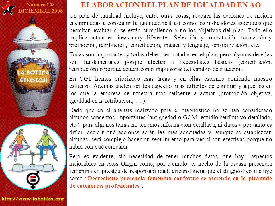 4 ELABORACION DEL PLAN DE IGUALDAD EN AO Un plan de igualdad incluye, entre otras cosas, recoger las acciones de mejora encaminadas a conseguir la igu