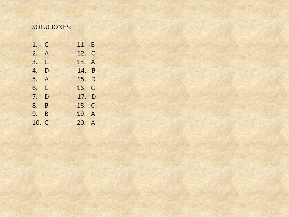 SOLUCIONES: 1. C 11. B 2. A 12. C 3. C 13. A 4. D 14. B 5. A 15. D 6. C 16. C 7. D 17. D 8. B 18. C 9. B 19. A 10. C 20. A