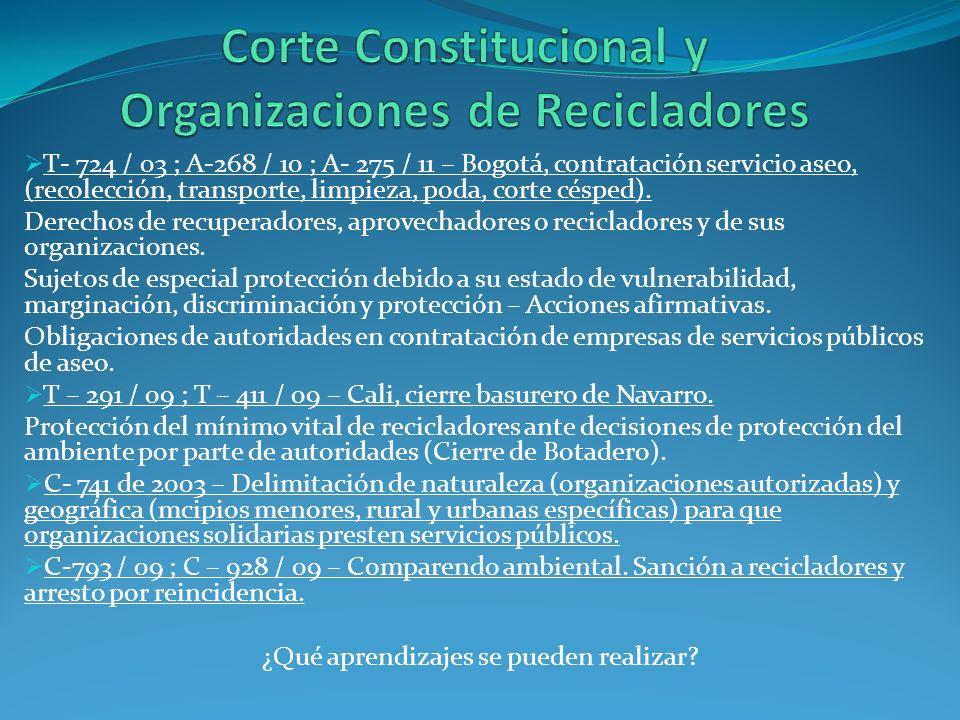 T- 724 / 03 ; A-268 / 10 ; A- 275 / 11 – Bogotá, contratación servicio aseo, (recolección, transporte, limpieza, poda, corte césped). Derechos de recu