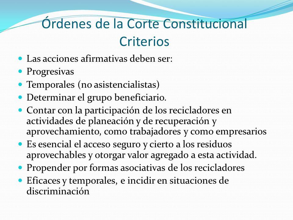 Órdenes de la Corte Constitucional Criterios Las acciones afirmativas deben ser: Progresivas Temporales (no asistencialistas) Determinar el grupo beneficiario.
