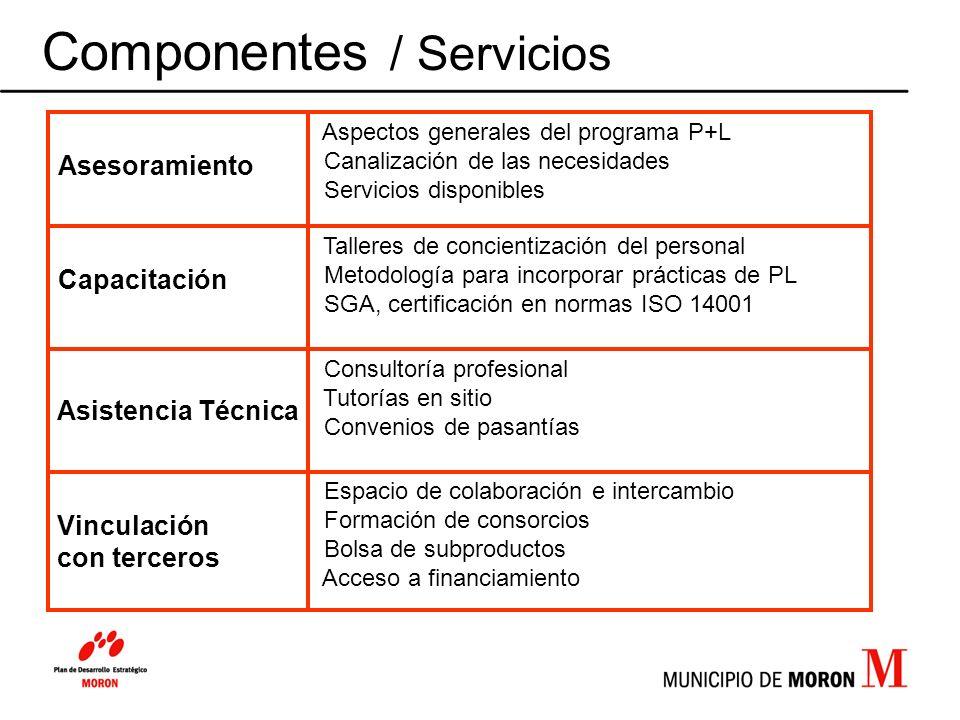 Componentes / Servicios Espacio de colaboración e intercambio Formación de consorcios Bolsa de subproductos Acceso a financiamiento Vinculación con te