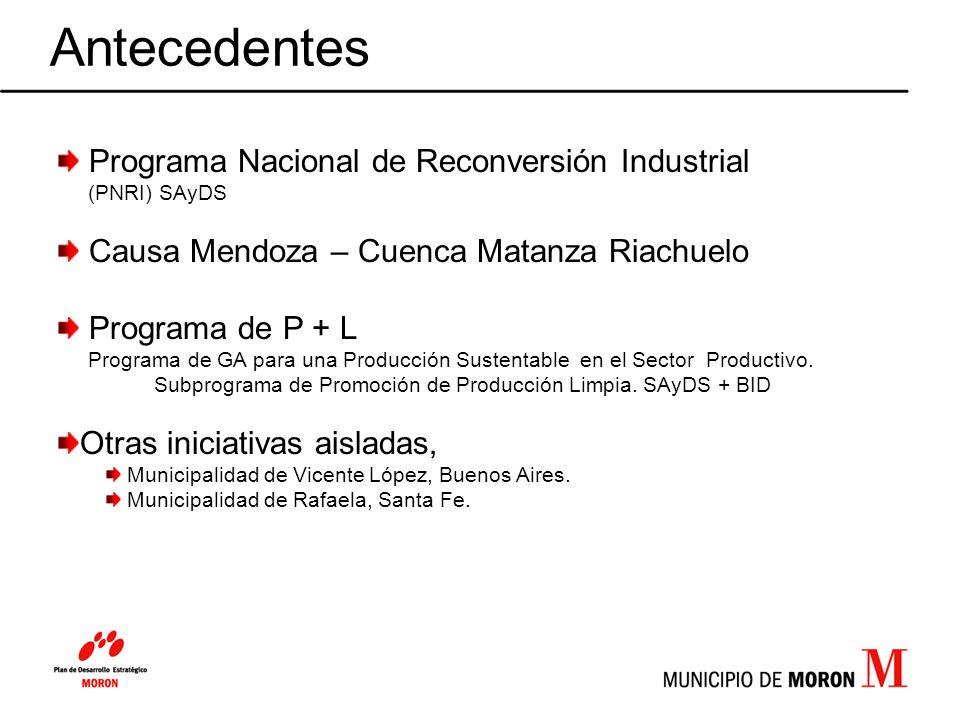 Antecedentes Programa Nacional de Reconversión Industrial (PNRI) SAyDS Causa Mendoza – Cuenca Matanza Riachuelo Programa de P + L Programa de GA para
