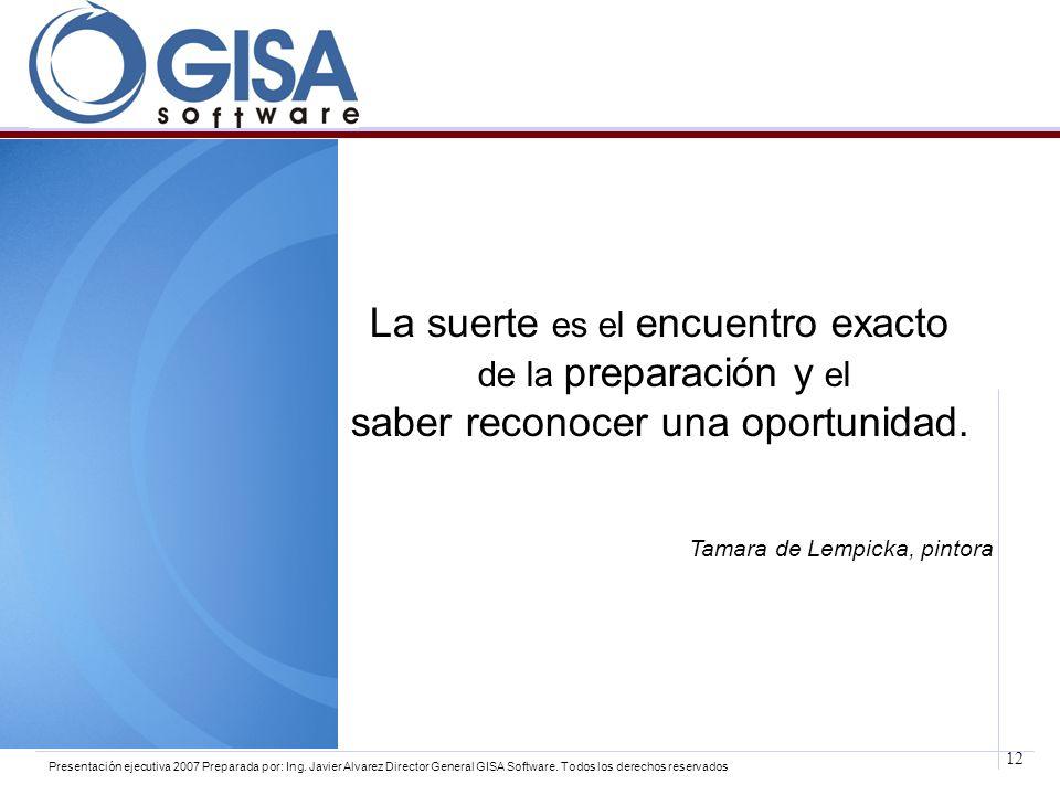 12 Presentación ejecutiva 2007 Preparada por: Ing. Javier Alvarez Director General GISA Software. Todos los derechos reservados La suerte es el encuen