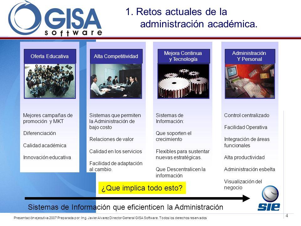 4 Presentación ejecutiva 2007 Preparada por: Ing. Javier Alvarez Director General GISA Software. Todos los derechos reservados 1. Retos actuales de la