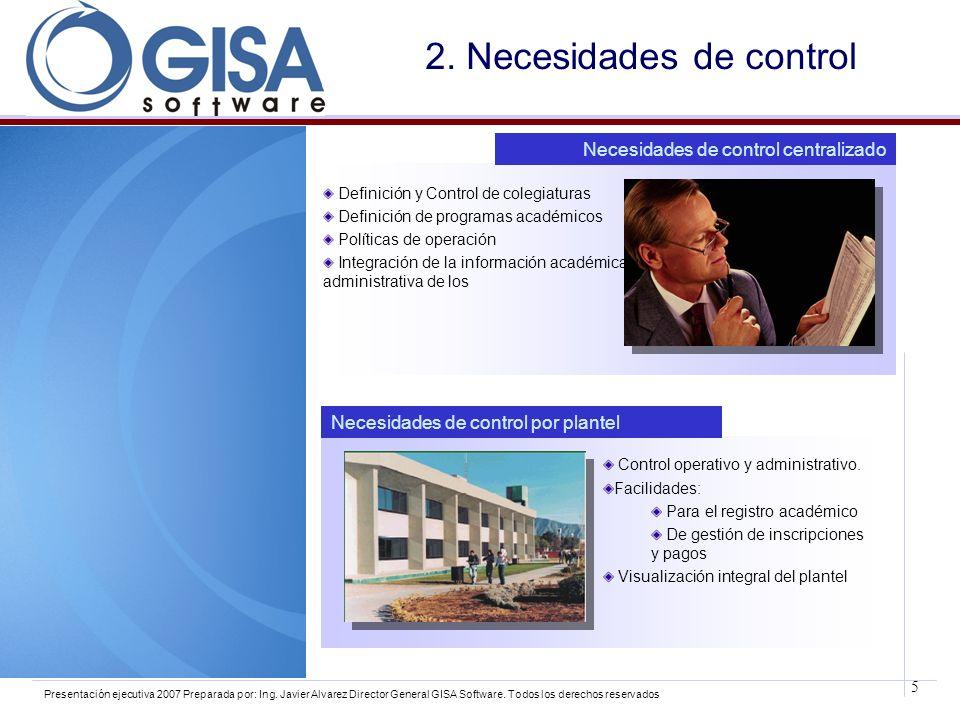 5 Presentación ejecutiva 2007 Preparada por: Ing. Javier Alvarez Director General GISA Software. Todos los derechos reservados 2. Necesidades de contr