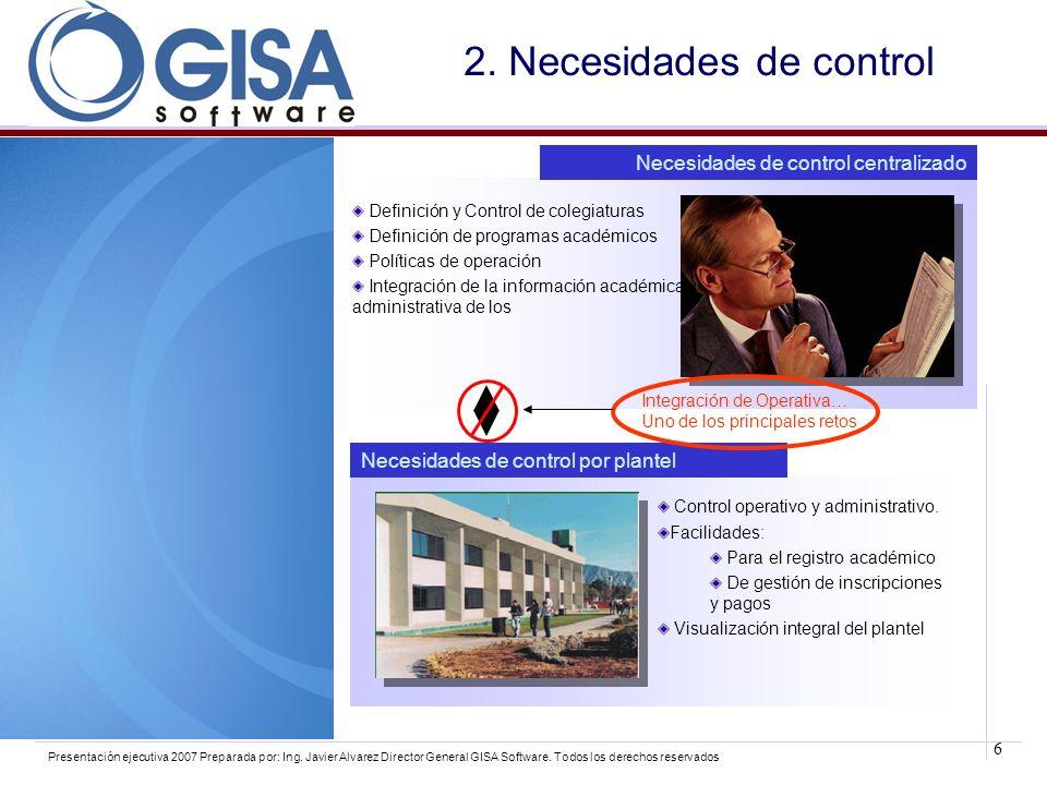 6 Presentación ejecutiva 2007 Preparada por: Ing. Javier Alvarez Director General GISA Software. Todos los derechos reservados 2. Necesidades de contr