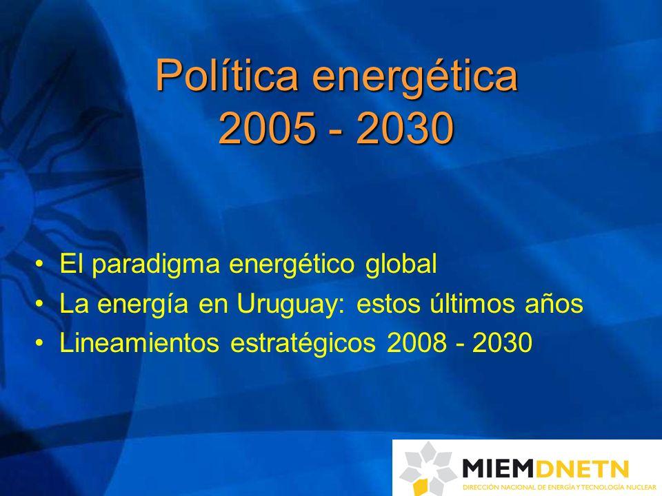 Principales acciones 2005 – 2008 (4) 4 ) Fuerte promoción de la Eficiencia Energética (EE) - financiación de proyectos piloto - etiquetado de electrodomésticos - acciones en transporte, construcción e iluminación - promoción de la cultura de EE en niños, jóvenes y población en general - proyecto de ley de EE elevado al Parlamento en junio/08