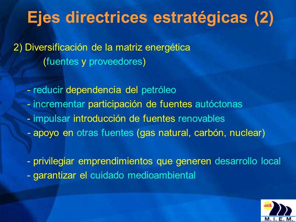 2) Diversificación de la matriz energética (fuentes y proveedores) - reducir dependencia del petróleo - incrementar participación de fuentes autóctona