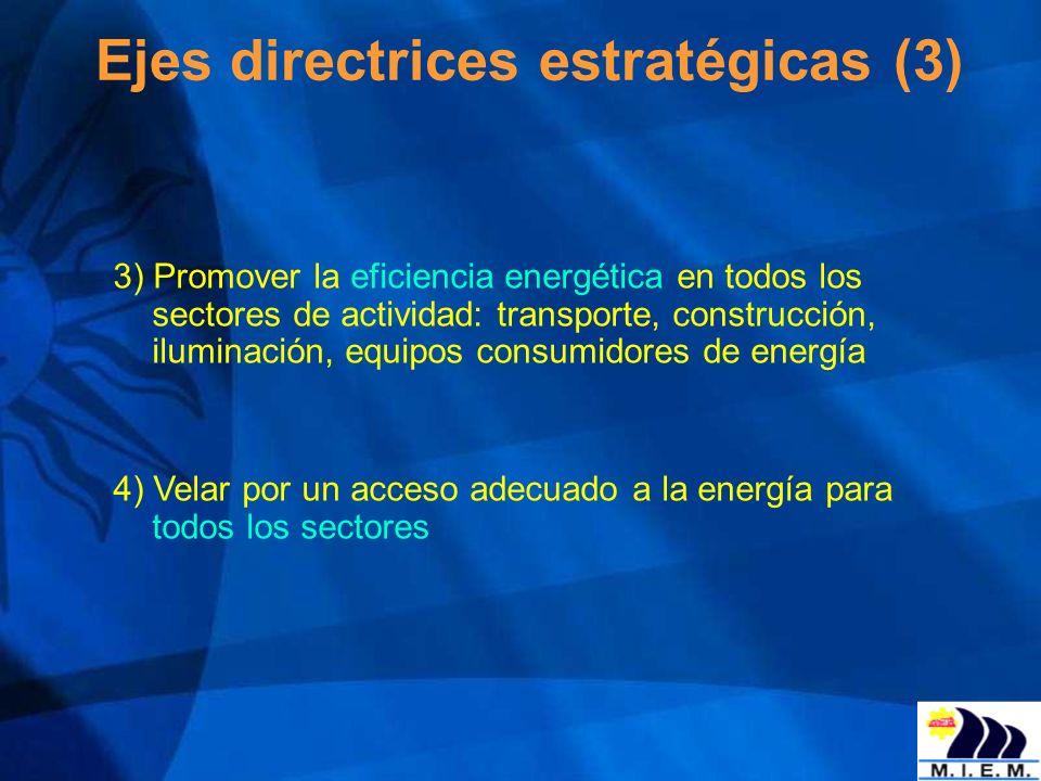 Ejes directrices estratégicas (3) 3) Promover la eficiencia energética en todos los sectores de actividad: transporte, construcción, iluminación, equi