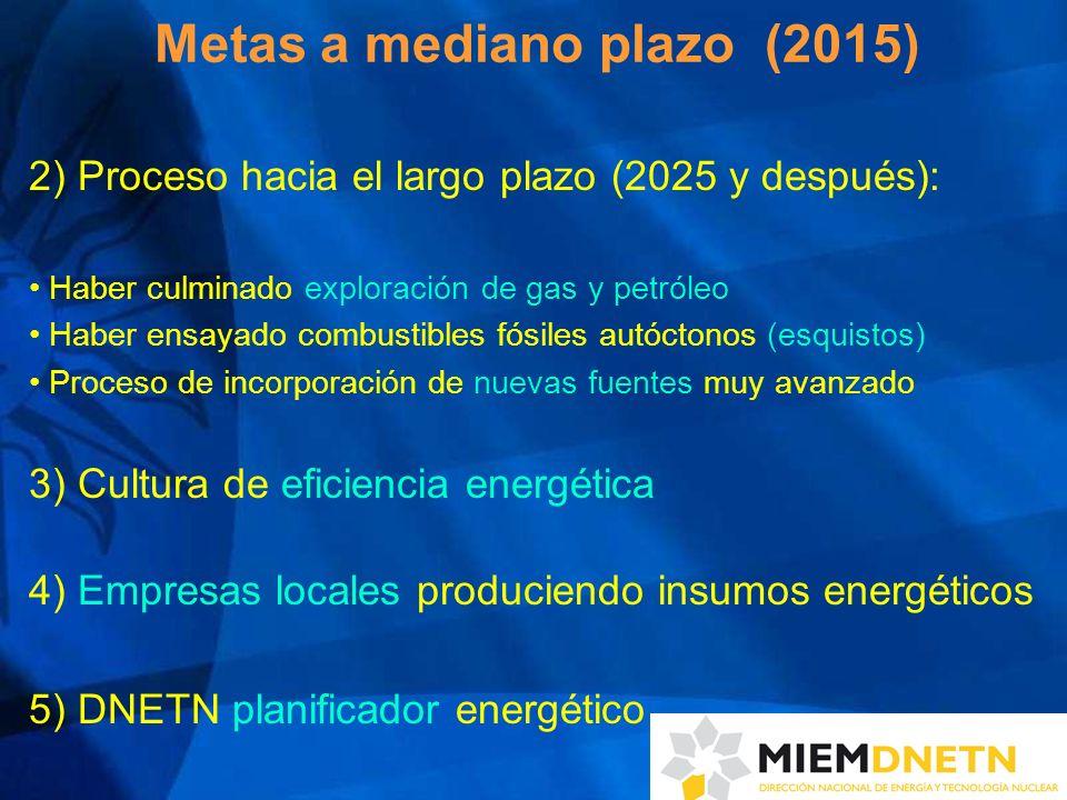 Metas a mediano plazo (2015) 2) Proceso hacia el largo plazo (2025 y después): Haber culminado exploración de gas y petróleo Haber ensayado combustibl