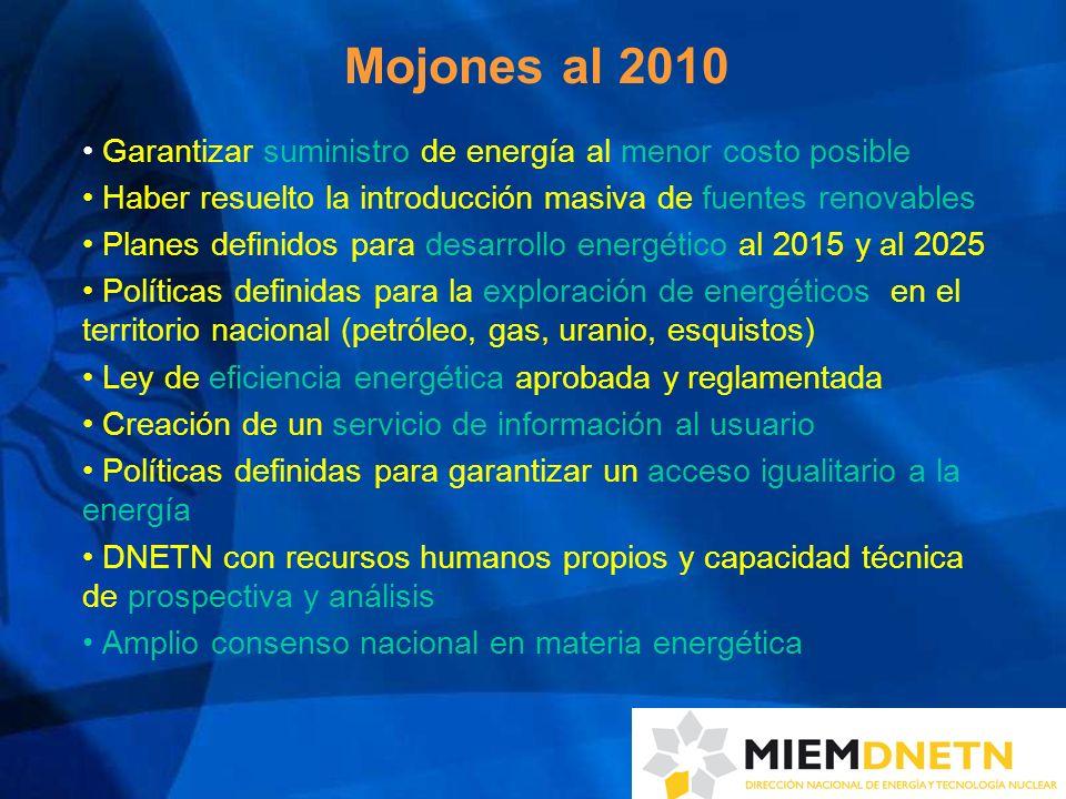 Mojones al 2010 Garantizar suministro de energía al menor costo posible Haber resuelto la introducción masiva de fuentes renovables Planes definidos p