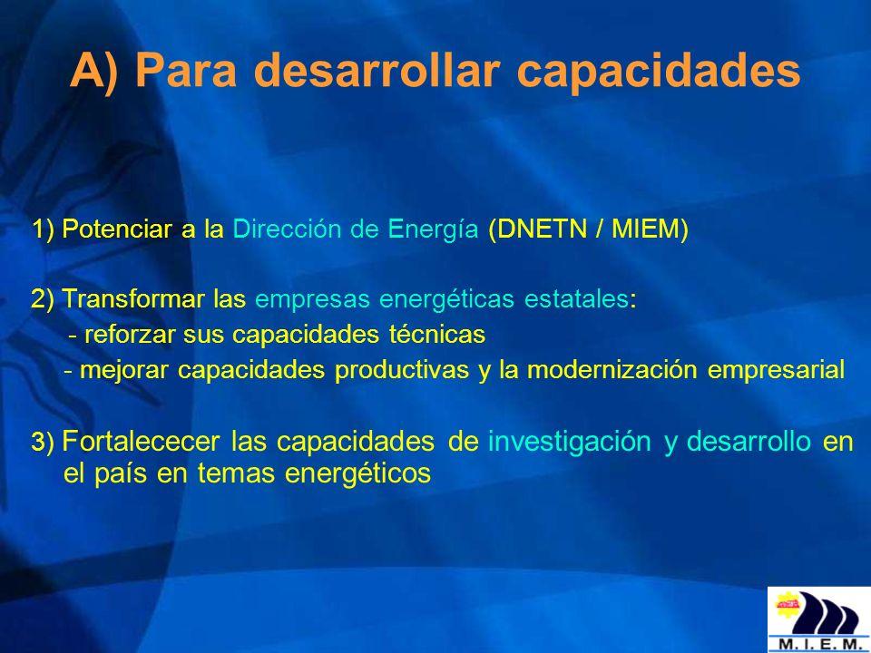 A) Para desarrollar capacidades 1) Potenciar a la Dirección de Energía (DNETN / MIEM) 2) Transformar las empresas energéticas estatales: - reforzar su