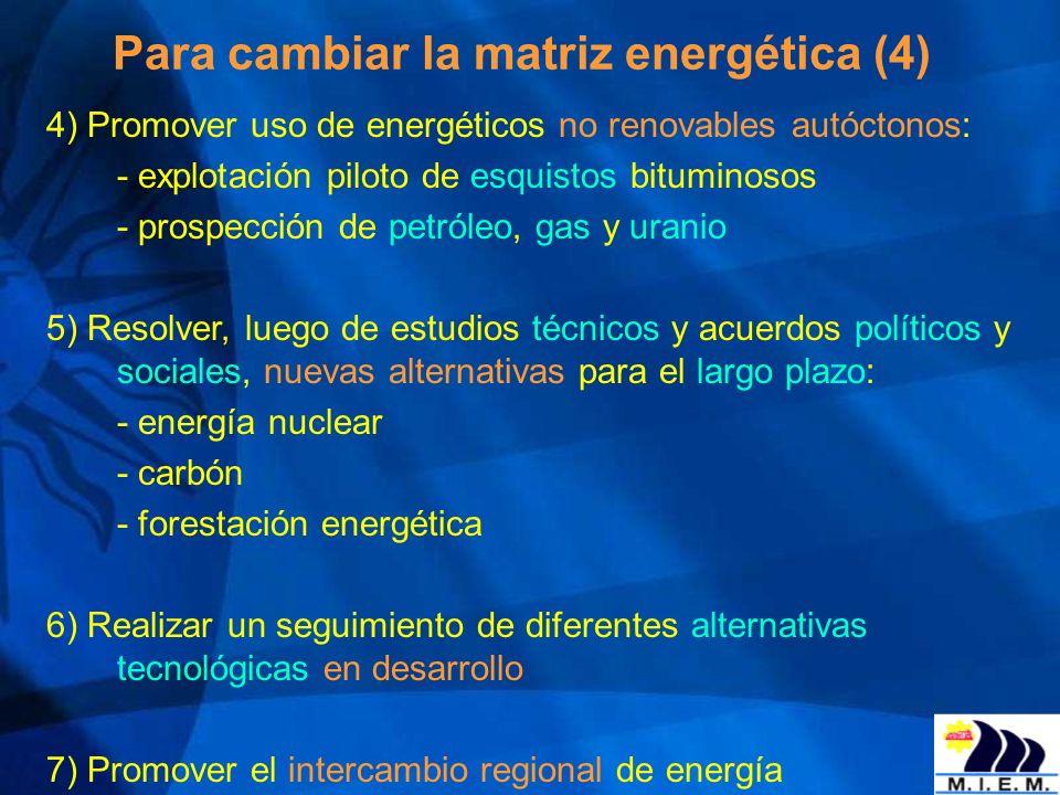 Para cambiar la matriz energética (4) 4) Promover uso de energéticos no renovables autóctonos: - explotación piloto de esquistos bituminosos - prospec