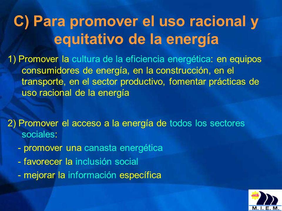 C) Para promover el uso racional y equitativo de la energía 1) Promover la cultura de la eficiencia energética: en equipos consumidores de energía, en