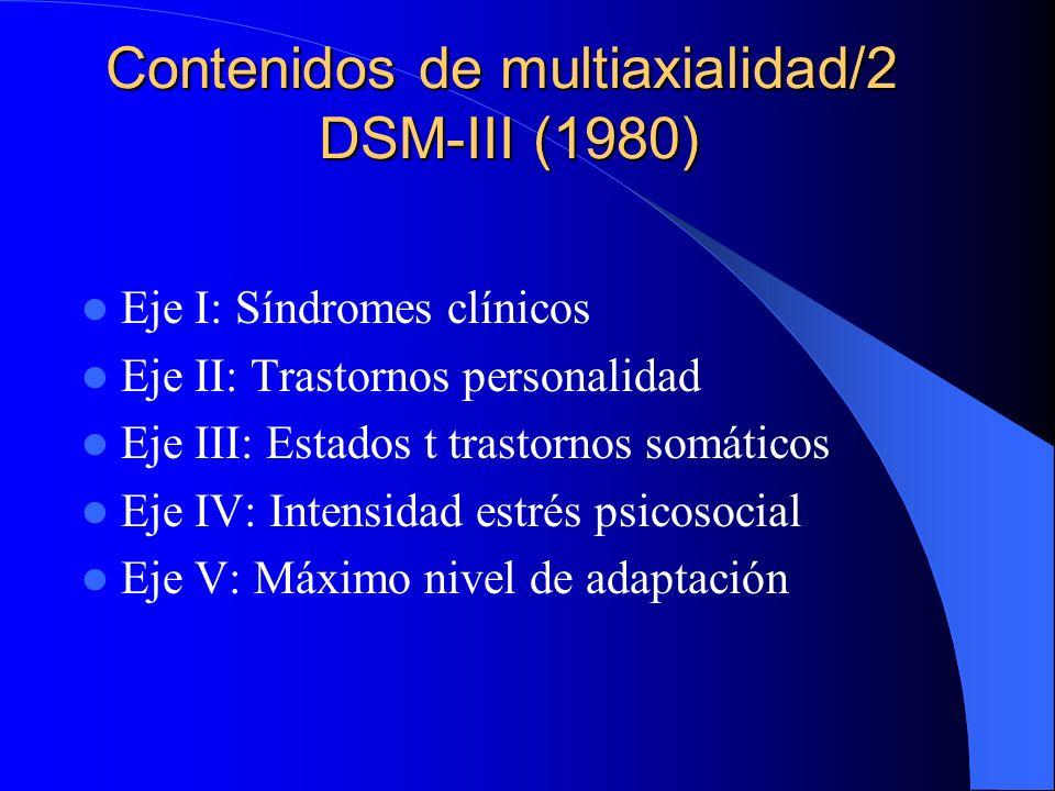 Contenidos de multiaxialidad/1 Clasificación Rutter-OMS (1975) Eje I: Síndromes clínicos Eje II: Nivel intelectual Eje III: Factores biológicos Eje IV: Influencias psicosociales asociadas o etiológicas (dimensiones temperamento y personalidad) (Eje V: Socio-familiar-Códigos Z)