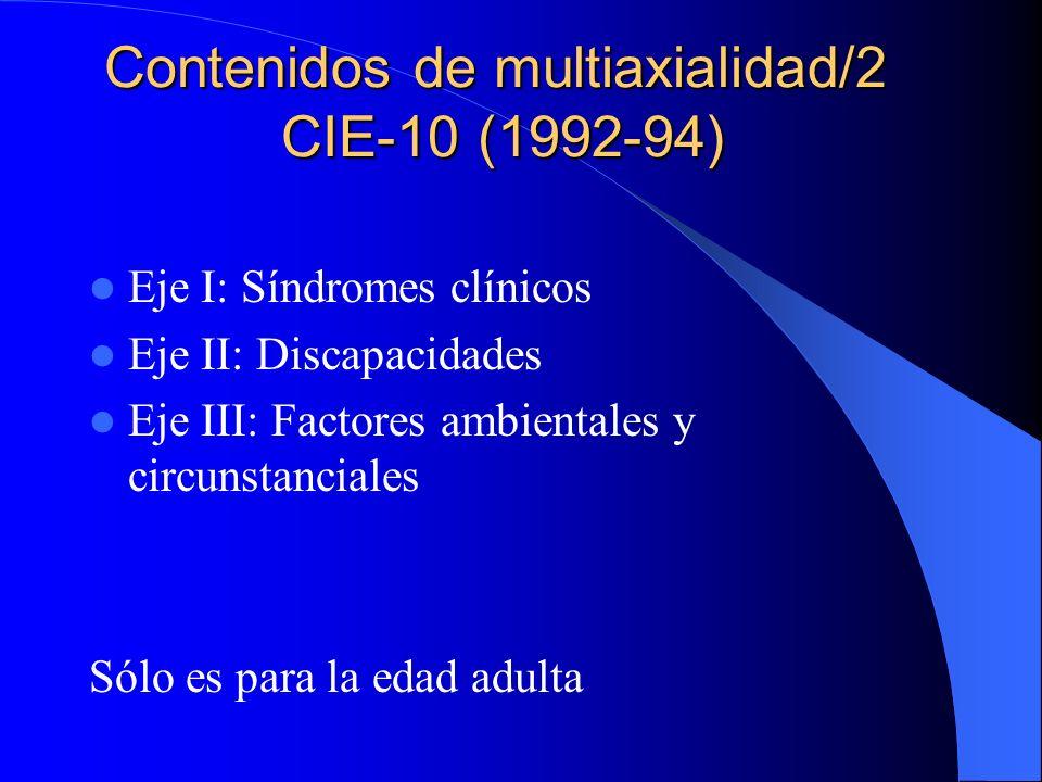 Contenidos de multiaxialidad/2 DSM-III (1980) Eje I: Síndromes clínicos Eje II: Trastornos personalidad Eje III: Estados t trastornos somáticos Eje IV: Intensidad estrés psicosocial Eje V: Máximo nivel de adaptación