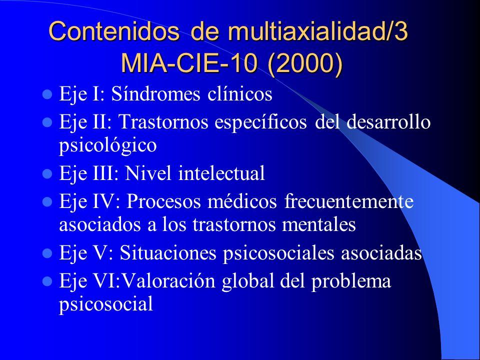 Contenidos de multiaxialidad/2 CIE-10 (1992-94) Eje I: Síndromes clínicos Eje II: Discapacidades Eje III: Factores ambientales y circunstanciales Sólo es para la edad adulta