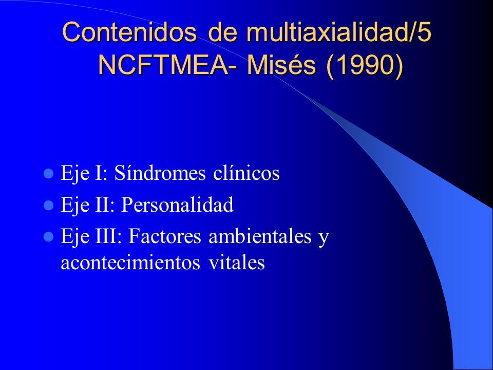 Contenidos de multiaxialidad/4 DSM-IV (1993) DSM-IV-TR (2002) Eje I: Síndromes clínicos Eje II: Trastornos personalidad, RM Eje III: Enfermedades médi