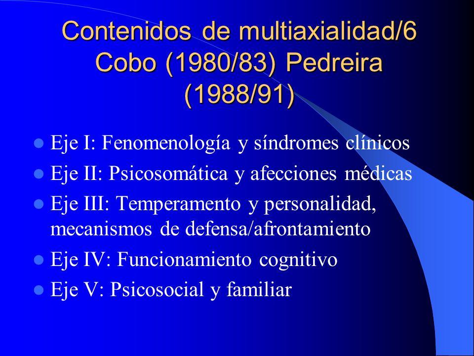 Contenidos de multiaxialidad/5 NCFTMEA- Misés (1990) Eje I: Síndromes clínicos Eje II: Personalidad Eje III: Factores ambientales y acontecimientos vitales