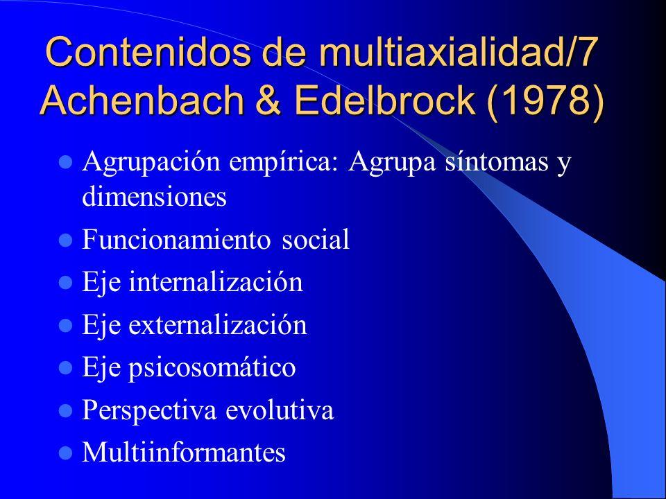 Contenidos de multiaxialidad/6 Cobo (1980/83) Pedreira (1988/91) Eje I: Fenomenología y síndromes clínicos Eje II: Psicosomática y afecciones médicas Eje III: Temperamento y personalidad, mecanismos de defensa/afrontamiento Eje IV: Funcionamiento cognitivo Eje V: Psicosocial y familiar