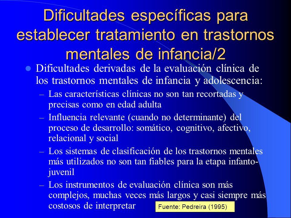 Dificultades específicas para establecer tratamiento en trastornos mentales de infancia/1 Dificultades derivadas de la evaluación clínica de los trast