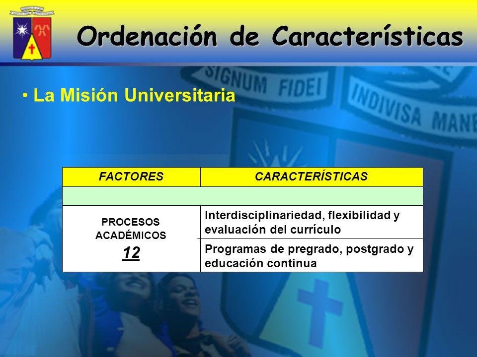 Ordenación de Características Programas de pregrado, postgrado y educación continua Interdisciplinariedad, flexibilidad y evaluación del currículo PROCESOS ACADÉMICOS 12 CARACTERÍSTICASFACTORES La Misión Universitaria