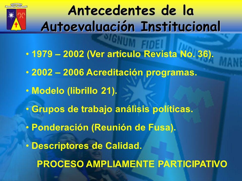 Antecedentes de la Autoevaluación Institucional 1979 – 2002 (Ver artículo Revista No.