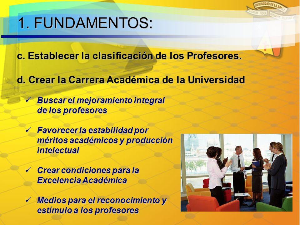 c.Establecer la clasificación de los Profesores. d.