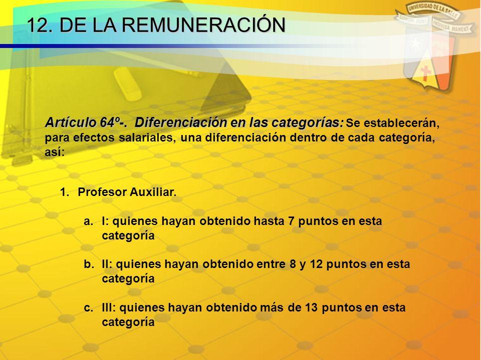12.DE LA REMUNERACIÓN Artículo 64º-. Diferenciación en las categorías: Artículo 64º-.