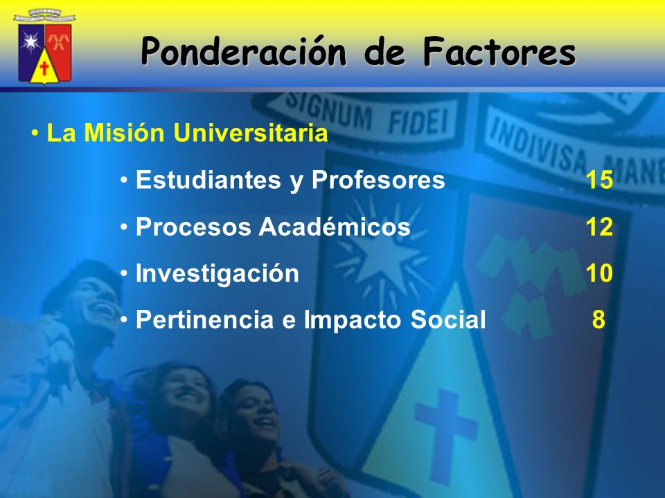 Ponderación de Factores La Misión Universitaria Estudiantes y Profesores 15 Procesos Académicos 12 Investigación 10 Pertinencia e Impacto Social 8